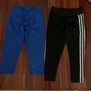 Two pairs of adidas climate 3/4 capris